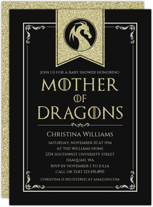 Gold Glitter Dragon Baby Shower Invitation