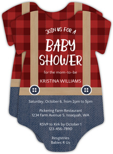 Lumberjack Boy Onesie Baby Shower Invitation