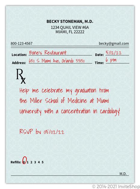 Prescription pad medical school graduation invitation graduation prescription pad medical school graduation invitation filmwisefo