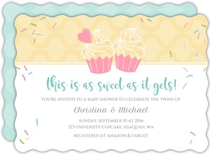 Two Cupcakes Twins Baby Shower Invitation