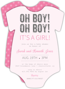 Its a Girl Pink and White Onesie Girl Baby Shower Invitations