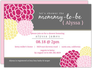 Pink and Yellow Whimsical Flowers Girl Baby Shower Invitations
