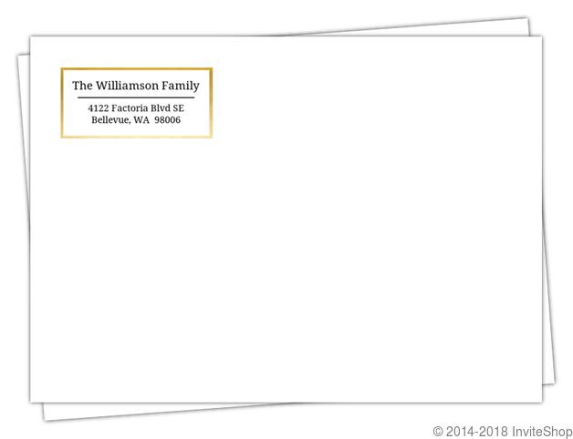 Simple Faux Foil Frame Return Address Envelope | Custom Envelopes