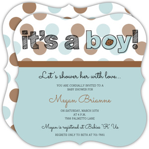 It's A Boy Polka Dot Boy Baby Shower Invite