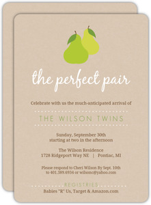 Pair of Pears Textured Twin Baby Shower Invite