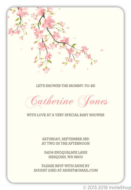 Pink blossoms baby shower invitation baby shower invitations sweet pink cherry blossoms girl baby shower invitation filmwisefo
