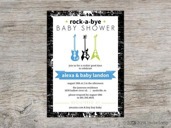 Rock A Bye Baby Guitars Shower Invitation Baby Shower Invitations