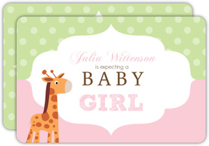 Pink and Green Giraffe Girl Baby Shower Invite