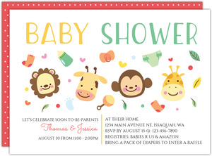 Cute Baby Jungle Safari Baby Shower Invitation