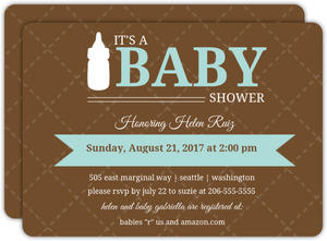 Blue and Brown Quilted Boy Baby Shower Invite