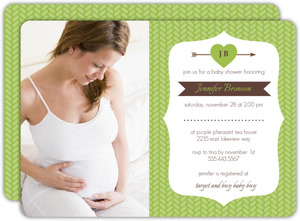 Green Arrow and Heart Baby Shower Invite