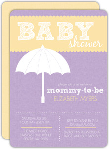Purple and Yellow Umbrella Girls Baby Shower Invite
