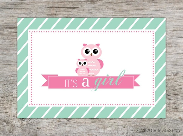 Mint stripes and pink owls girl baby shower invitation baby shower mint stripes and pink owls girl baby shower invitation filmwisefo
