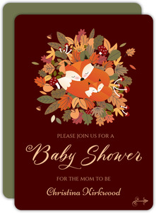 Fox Autumn Leaves Baby Shower Invitation