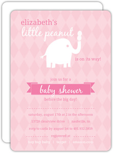 Pink and White Little Elephant Girl Baby Shower Invitations