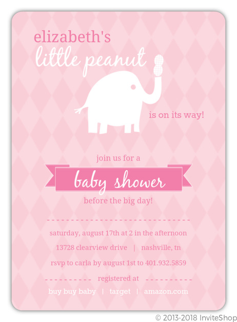 Pink and white little elephant girl baby shower invitations baby pink and white little elephant girl baby shower invitations filmwisefo