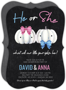 He or She Pumpkin Baby Gender Review Invitation