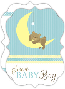 Bear on Moon Baby Blue Baby Shower Invite