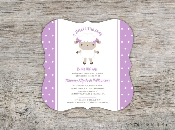purple sheep polkadot baby shower invitation baby shower invitations
