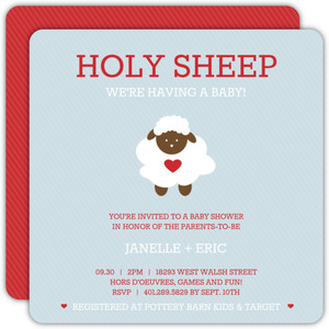 Holy Sheep Blue & Red Baby Shower Invite