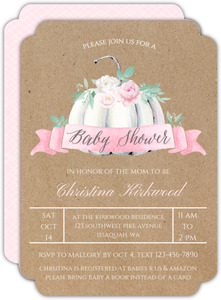 White Floral Pumpkin Baby Shower Invitation