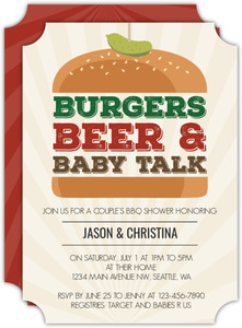 Burgers Beer And Baby Baby Shower Invitation