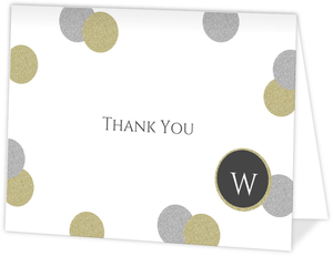 Glamorous Glitter Graduation Thank You Card