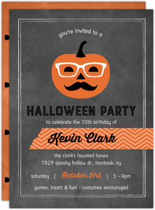 Hipster Pumpkin Halloween Birthday Invitation
