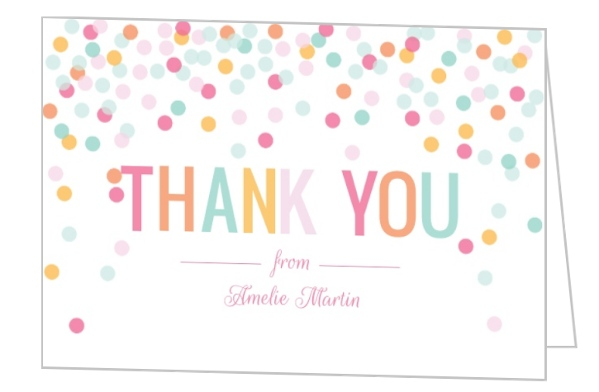 fun colorful confetti thank you card baby thank you cards