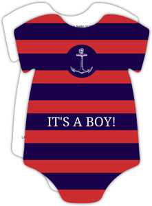Nautical Navy & Red Stripes Baby Boy Shower Invite
