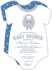 Cute Blue & Gray Lamb Baby Shower Invitation