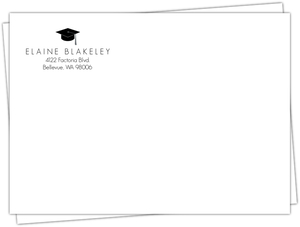Black Graduation Cap Return Address Only Envelope