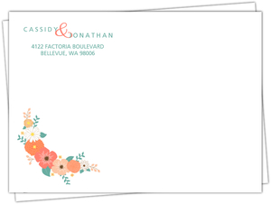 Coral and Mint Country Floral Full Custom Envelope