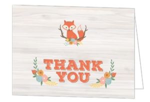 Rustic Woodland Fox Baby Shower Thank You Card