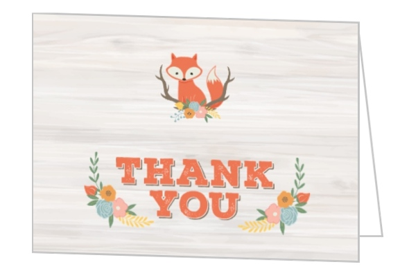 Rustic Woodland Fox Baby Shower Thank You Card Baby Thank You Cards