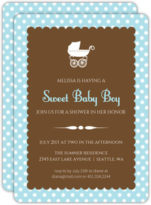 Blue Polka Dot Carriage Baby Shower Invite