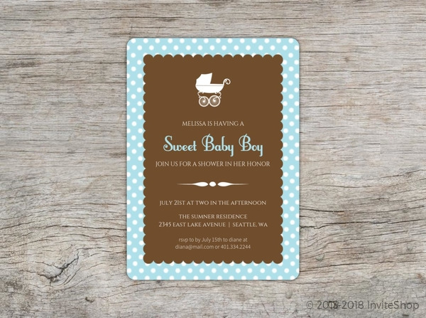 Blue Polka Dot Carriage Baby Shower Invite Baby Shower Invitations