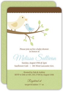 Mama and Baby Bird Boy Baby Shower Invitation