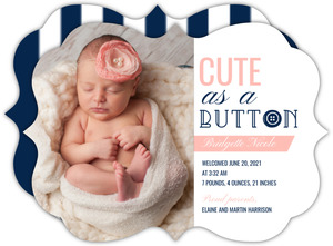 Pink Ribbons and Buttons Photo Girl Baby Announcement