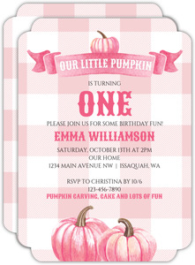 Watercolor Pink Pumpkins Birthday Invitation