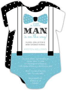 Suspenders Onesie Baby Shower Invitation