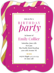 Classic Gold Dots Birthday Invitation