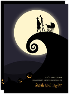 Halloween Hill Silhouette Baby Shower Invitation