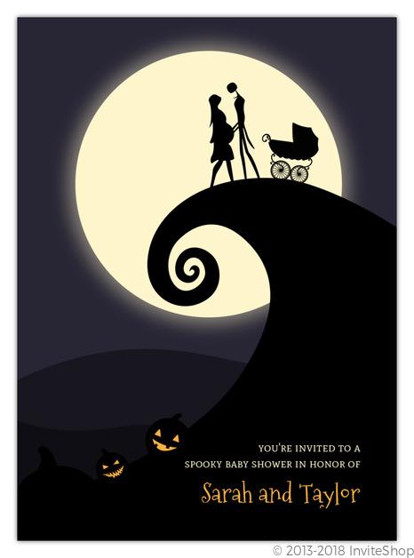 Halloween hill silhouette baby shower invitation baby shower halloween hill silhouette baby shower invitation filmwisefo