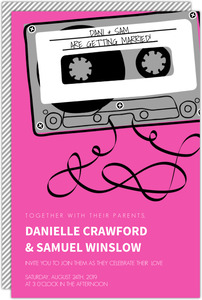 Bright Pink Mixed Tape Wedding Invitation
