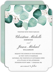 Silver Dollar Branches Wedding Invitation