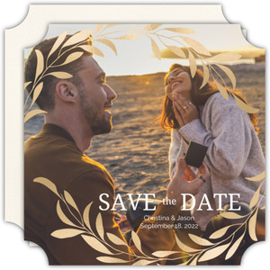 Faux Gold Laurel Save the Date
