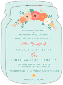Coral and Mint Country Floral Wedding Invitation