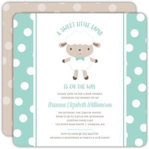 Minty Polkadot Sheep Baby Shower Invitation