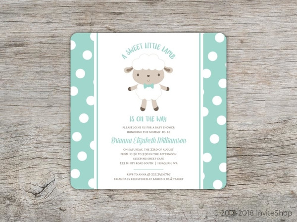 minty polkadot sheep baby shower invitation baby shower invitations